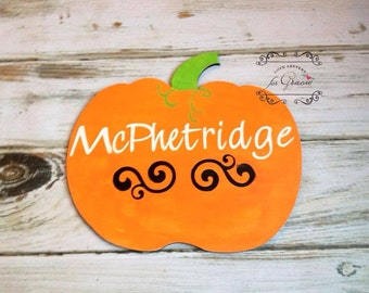 Pumpkin Sign with Name