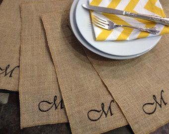 Burlap Personalized Embroidered Placemats - set of 4 - Wedding - Party - Holiday
