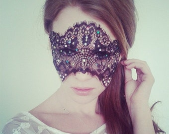 Black Lace Mask with MultiColor Crystals - Mardi Gras Mask - Masquerade Ball Black Mask - Gaga Mask - Embellished Mask