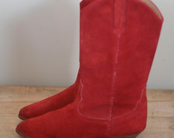 vintage red suede womens western boots made in spain