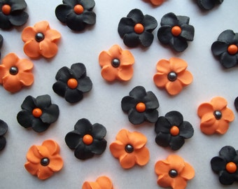 Black and orange flowers -- Halloween -- Edible cake decorations cupcake toppers  (24 pieces)