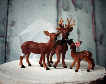 Cake topper-deer family-wedding-deer-buck doe fawn-family-hunting-deer hunting-bride-groom-camouflage-hunting wedding-woodland-Forrest
