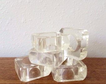 Vintage Lucite Napkin Ring Set (Set of Six)
