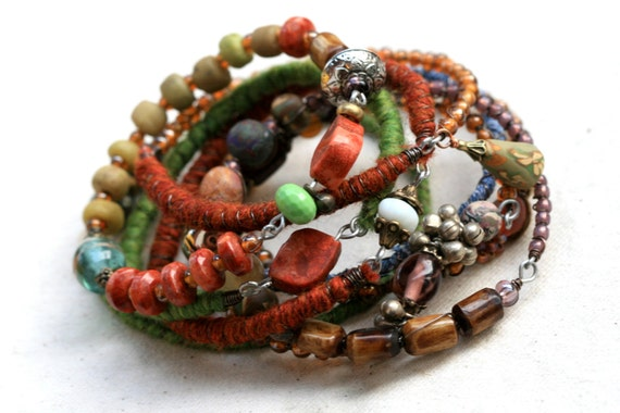 Bangle Stack Tribal Gipsy Assemblage Bracelet- recycled, vintage beads, vivid colors, red, green, jeans, polymer clay,African, metal