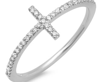 Diamond Ring in 14K Solid Gold - Sideway Cross