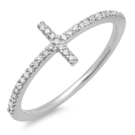 Unique White Diamond Sideways Cross Ring
