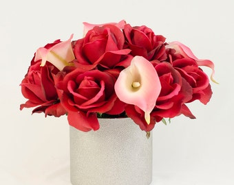 Real Touch Red Roses Pink Calla Lilies Arrangement using Artificial Faux Flowers in Metal Vase for Home Decor Silk Arrangement