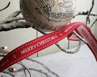 Merry Christmas Ribbon, Classic Ribbon, Christmas Ribbon, By the Metre, 15mm, Red