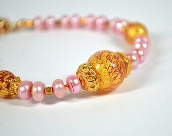 Sophisticated Venetian glass bracelet Pink pearl bracelet w/ Italian Murano glass and 24k gold vermeil bead bracelet Luxury Venetian jewelry
