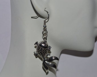 Antique Silver Goldfish Earring