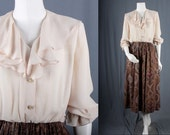 Vintage Women Dress beige brown paisley secretary 1950s size S small