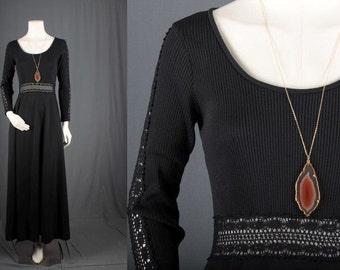 Black maxi dress lace bohemian gypsy hippie size S small