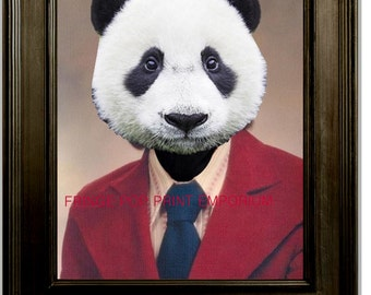 Panda Bear Art Print 8 x 10 - High School Yearbook Photo - Animal in High School - 1970s - Altered Art - Anthropomorphic