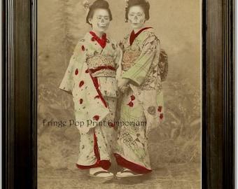 Zombie Geisha Art Print 8 x 10 - Altered Art Japanese Geisha with Skeleton Faces - Horror Dark Art Goth Gothic - Japan Asian