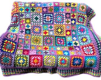 Crochet afghan handmade crochet blanket kaleidoscope crochet granny square afghan, lavender border 58 inches, MADE TO ORDER