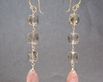 Smoky quartz squares pink tourmaline Earrings Modglam 195