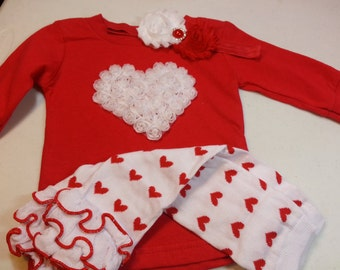 Girls Valentine's Day Outfit, Red Valentines Shirt, White Heart Shirt, Red Heart Leg Warmers, Baby Heart Outfit, Girls Flower Headband