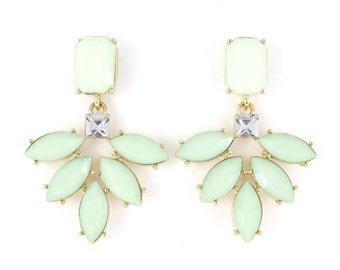 Gold tone Mint Green Beads Post Backings Flower Drop Earrings,Q4+