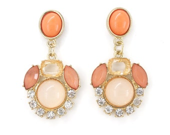 Stunning Gold tone White Crystal Post Backings Drop Earrings,R4