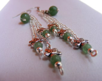 ON SALE NOW!  Dazzling Hanging Earrings with Flower Charms and Aventurine