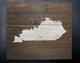 Rustic Kentucky Map Whitewash Wall Art