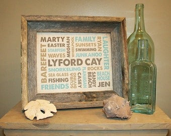 8x10 Burlap Print with Barn wood Frame featuring Your Words, Your Colors, Your Story - Great for Family, Wedding & Baby