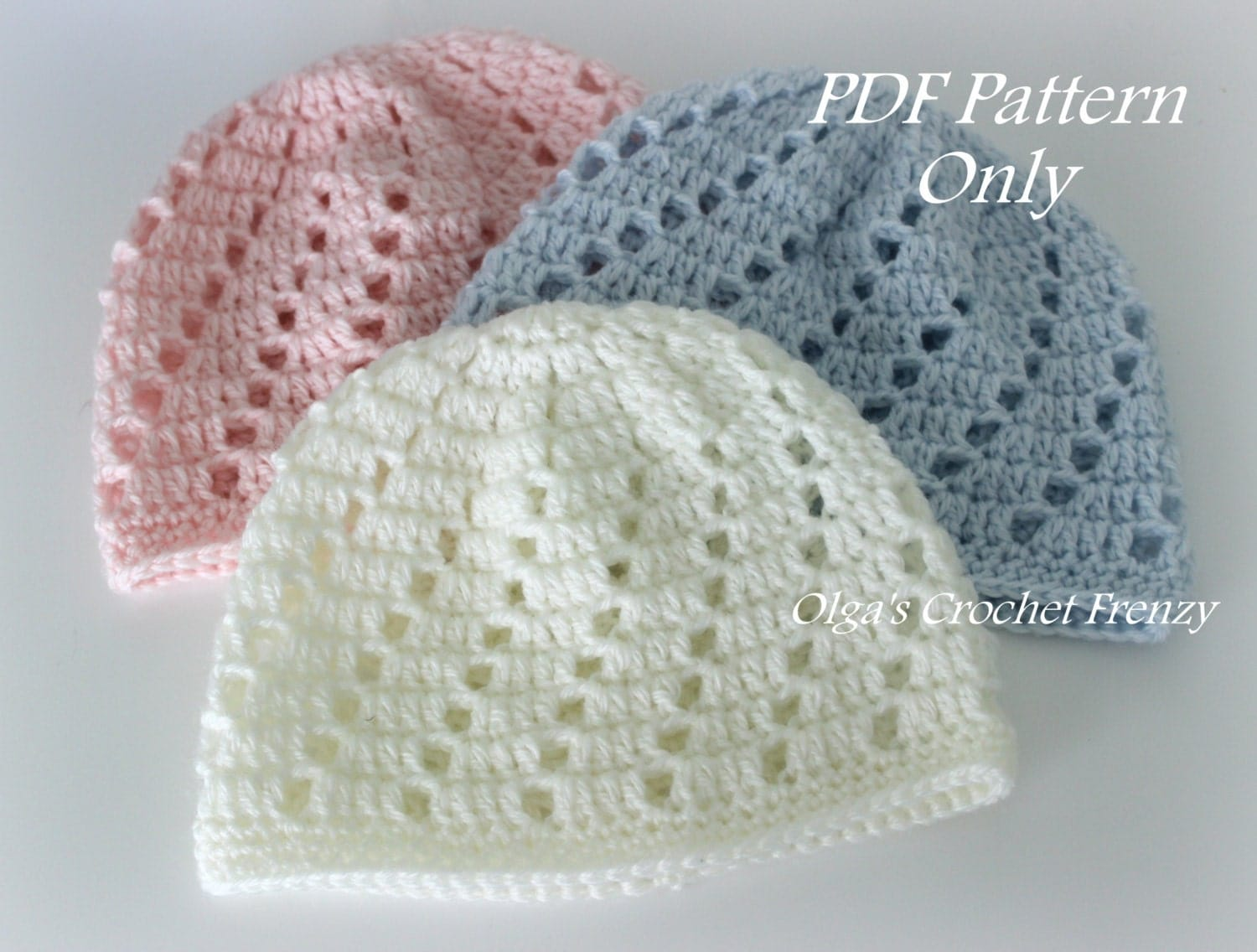 Beginner Crochet Patterns Beanie : Baby Beanie Hat Crochet Pattern Beginner Skill Level Size