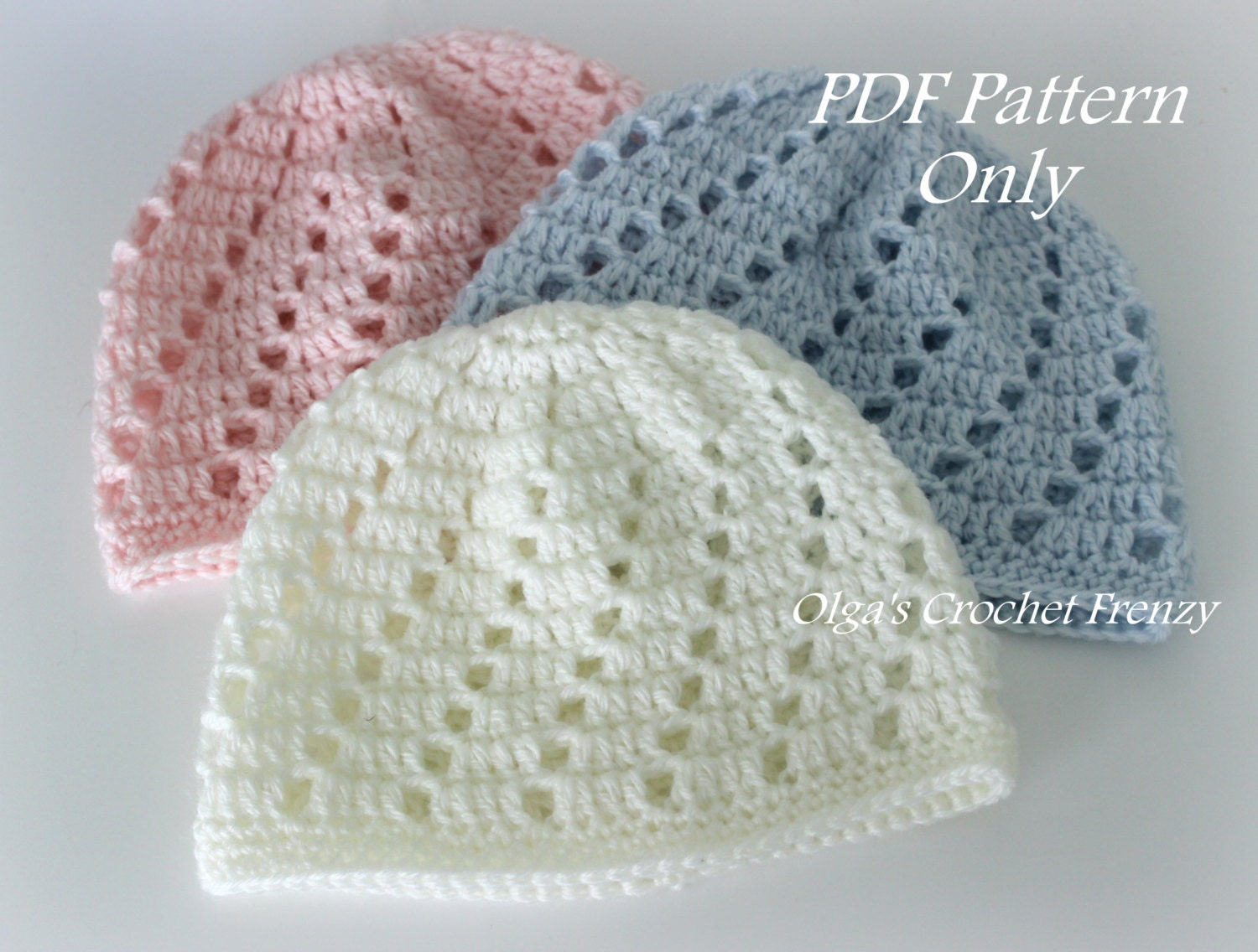 Crochet Baby Hat Patterns 6 Months : Baby Beanie Hat Crochet Pattern Beginner Skill Level Size