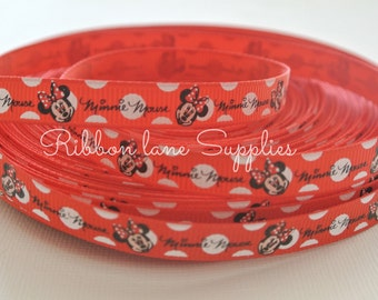 "3/8"" Ribbon by the yard-Disney Minnie Mouse red white Polka dot  Ribbon -Hair bows WHolesale by Ribbon Lane Supplies"