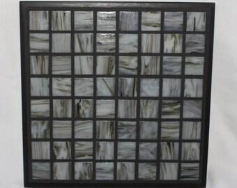 Marbled gray mosaic trivet with black trim