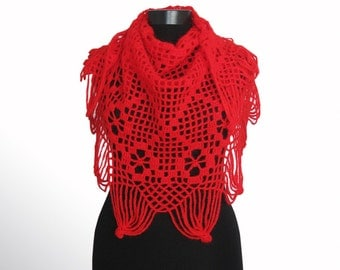 Shawl, crochet shawl. Lace shawl. Hand crochet triangular shae knitted shawl,Red Lace Shawl -Hand crochet,Valentine's, red color,Lace