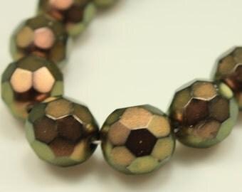 Bead, Preciosa® Czech fire-polished glass, metallic copper, 12x11mm faceted round. Qty 10, Czech Glass Bead