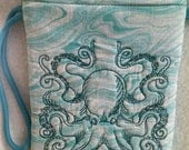 Embroidered Blue Octopus Wristlet