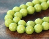 Faceted Jade Beads, Light Apple Green, 8mm Round - 15 Inch Strand - eJFR-G02-8