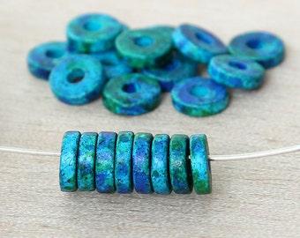 20 pcs Mykonos Ceramic Beads, Blue Green, 8mm Round Washer Disk - eMT08W-AEM