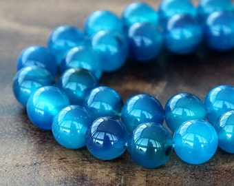 Dyed Agate Beads, Denim Blue, 8mm Smooth Round - 15 inch strand - eGR-AG58305-8