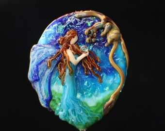 Friends Under the Stars, XX Large Handmade Lampwork Moretti Glass Fairy and Dragon Focal Bead