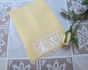 vintage yellow cutwork linen towel vintage finger tip towel lace linens vintage yellow lace yellow and white shabby chic linens cottage chic