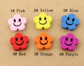 10 pcs 0.75 inch Kawaii Smile Color Wood Shell Buttons for Kids Babies