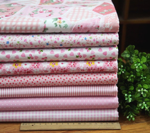 8 pieces Pink Group Series Color collection Cotton Cloth  Quilt Fabric-DIY Handmade Fabric Cloth