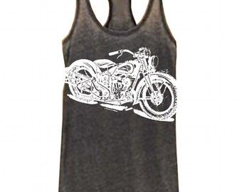 NEW Womens Vintage Indian MOTORCYCLE Print Alternative Apparel Seventies Racer Tank More Colors S M L