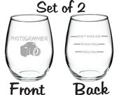 Etched Funny Photographer Glass  FREE Personalization