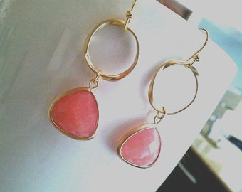 Spring Collection Coral Pink Gold Earrings ,Drop, Dangle, Gemstone Earrings, bridesmaid gifts,Wedding jewelry