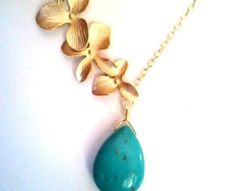 Orchid Necklace, Turquoise Necklace, Statement Necklace - bridesmaid gifts, turquoise pendant, christmas gift, cocktail jewelry