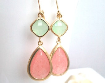 Coral Wedding earrings, Pink Earrings, Drop, Dangle earrings, bridesmaid gifts, Bridal Jewelry, Wedding jewelry Gifts