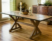 Dining Table Trestle Table  diamond pattern top Reclaimed wood