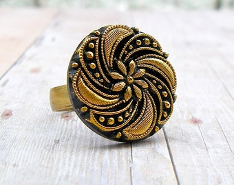 Gilded Whirlwind - adjustable vintage glass button ring