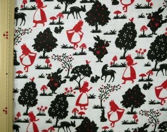 Alice in Wonderland Japanese Fabric / Double Gauze Red Alice - 110cm x 50cm
