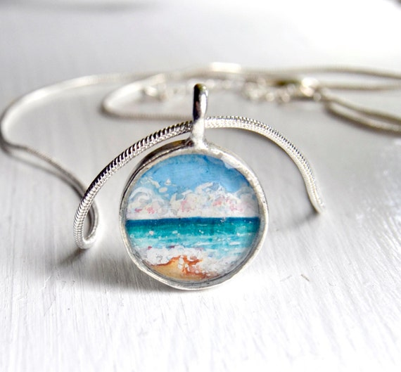 ocean necklace landscape ocean jewelry ocean painting