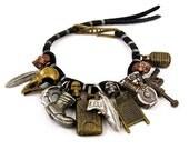 Mens Charm Bracelet - mixed metals